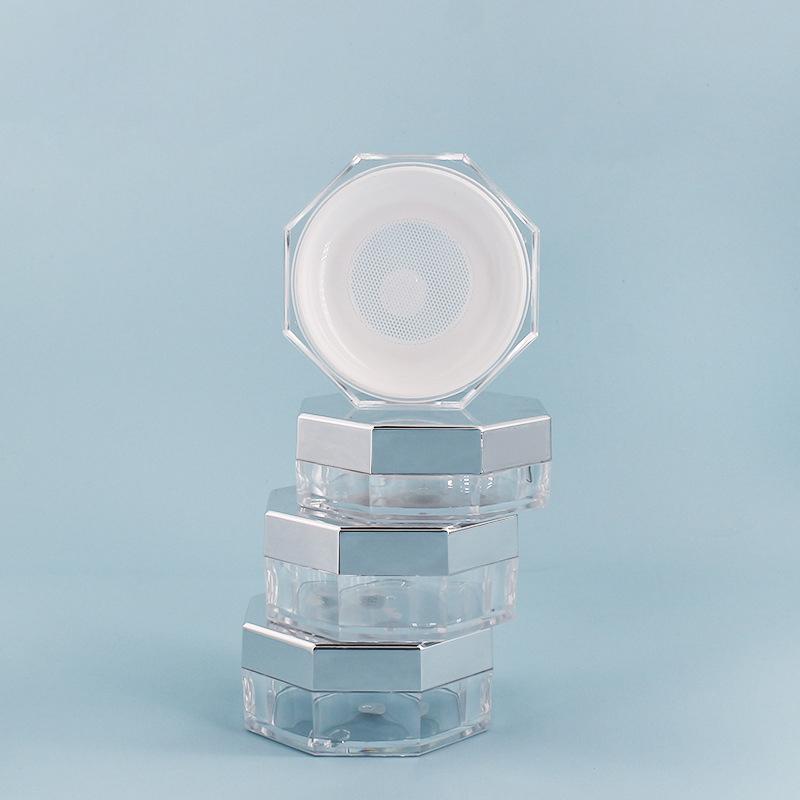 八角散粉盒 银色喷镀蜜粉盒