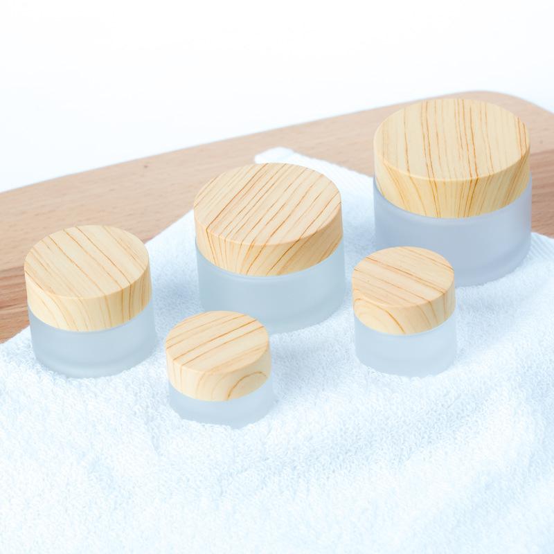 磨砂玻璃膏霜分装瓶 木纹盖