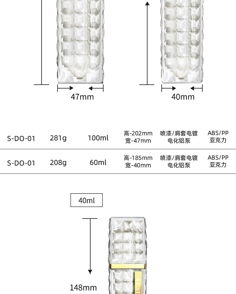 钻石外观设计护肤套装瓶尺寸参数